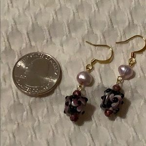 NWT fresh water pearl glass bead dangle earrings